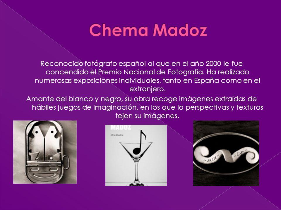 Reconocido fotógrafo español al que en el año 2000 le fue concendido el Premio Nacional de Fotografía. Ha realizado numerosas exposiciones individuale
