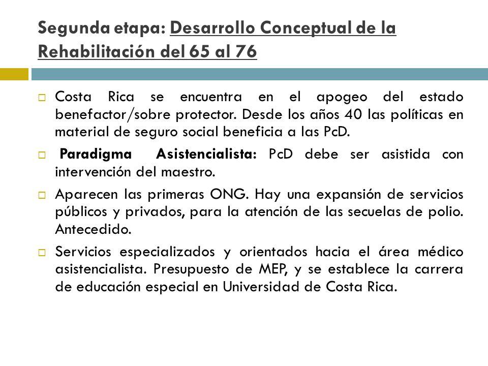 Tercera etapa: Consolidación : 76 al 90 Tendencia la normalización integración.