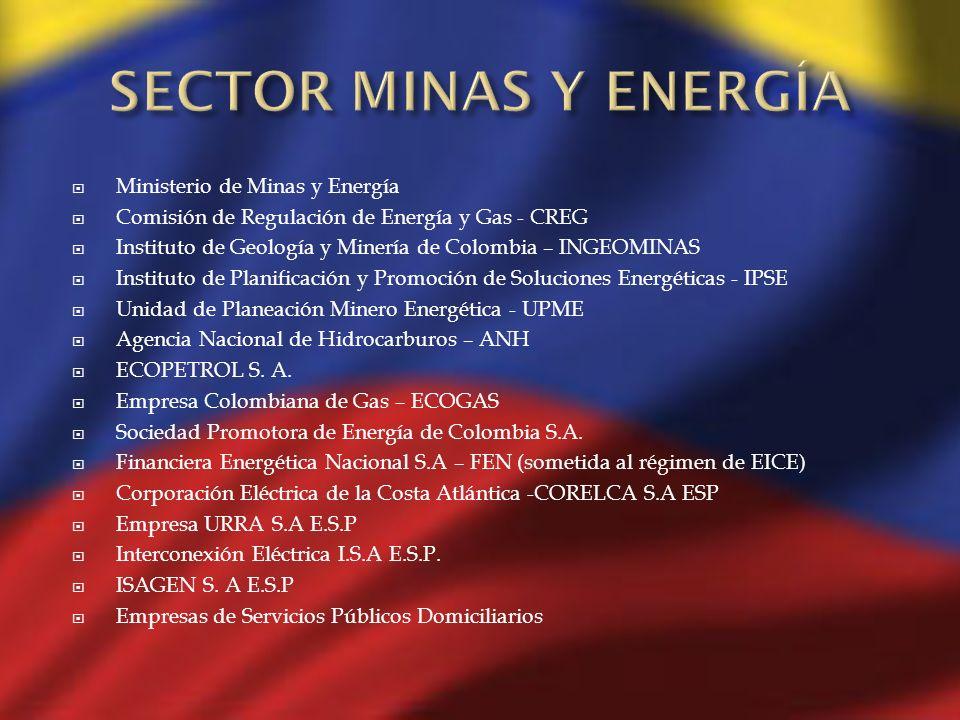 Ministerio de Minas y Energía Comisión de Regulación de Energía y Gas - CREG Instituto de Geología y Minería de Colombia – INGEOMINAS Instituto de Pla