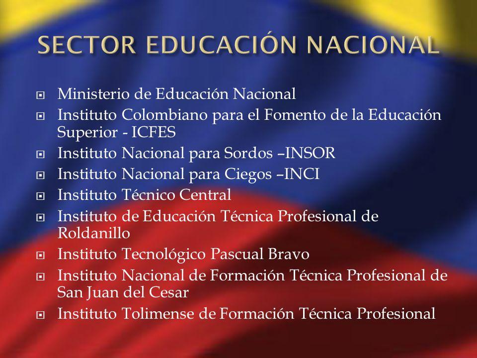 Ministerio de Educación Nacional Instituto Colombiano para el Fomento de la Educación Superior - ICFES Instituto Nacional para Sordos –INSOR Instituto