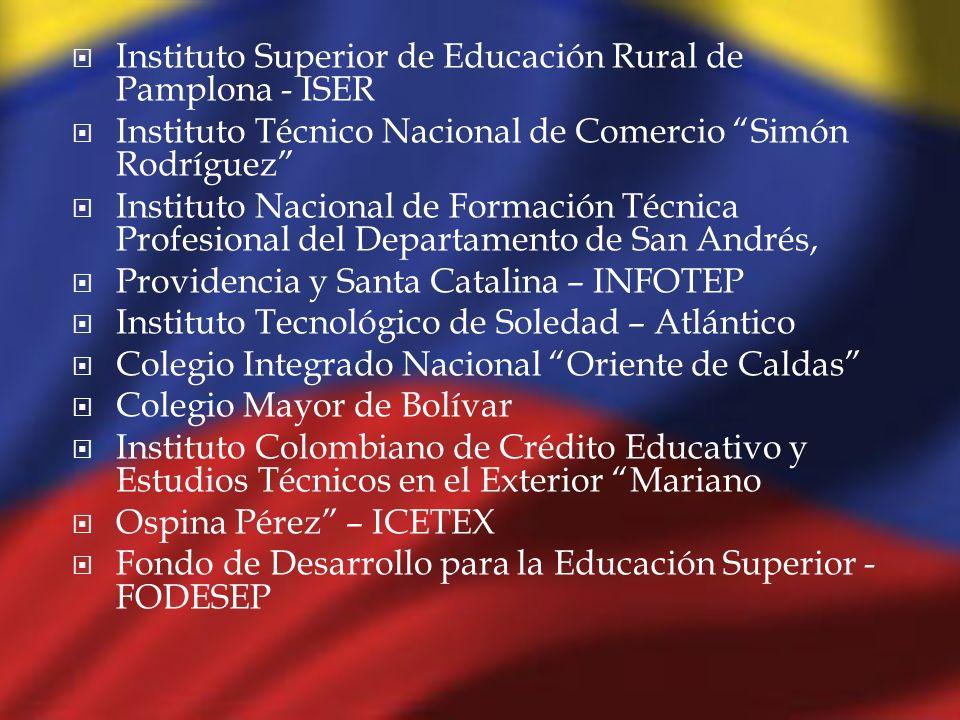 Instituto Superior de Educación Rural de Pamplona - ISER Instituto Técnico Nacional de Comercio Simón Rodríguez Instituto Nacional de Formación Técnic