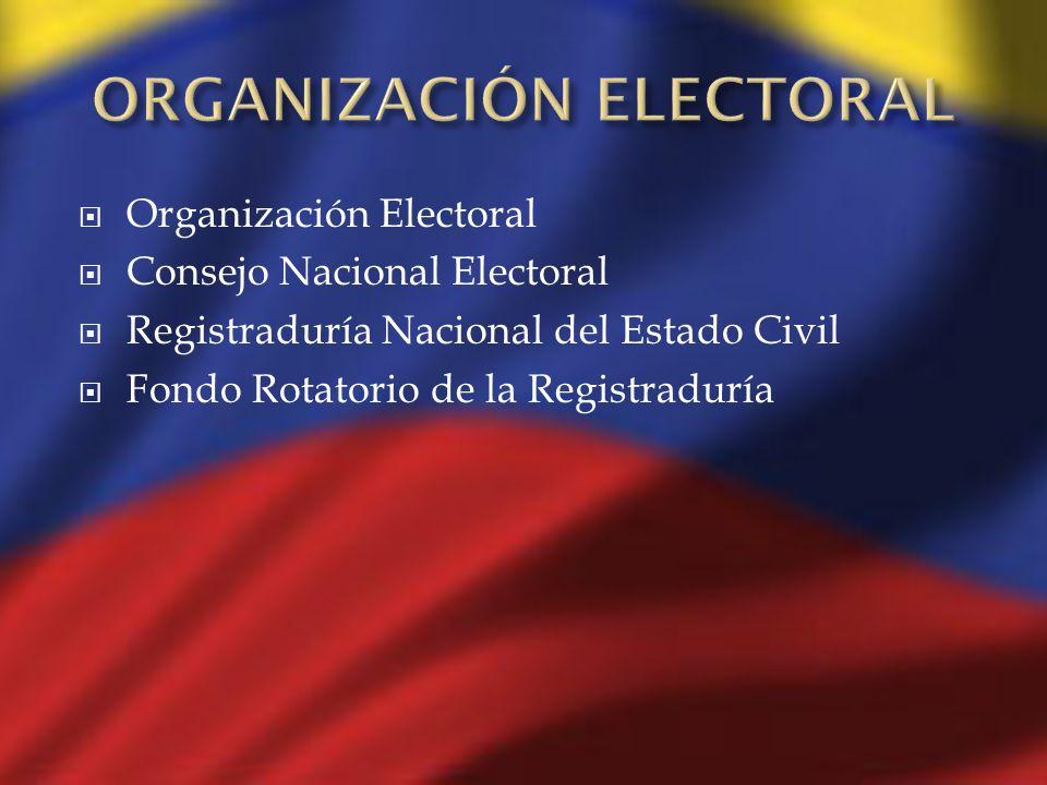 Organización Electoral Consejo Nacional Electoral Registraduría Nacional del Estado Civil Fondo Rotatorio de la Registraduría