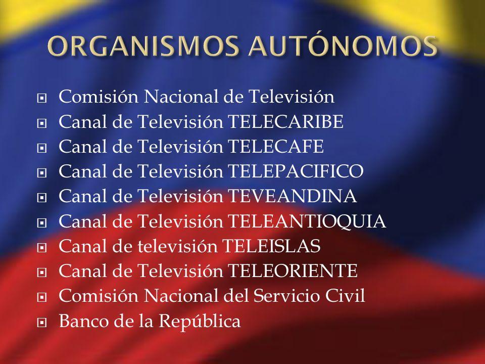 Comisión Nacional de Televisión Canal de Televisión TELECARIBE Canal de Televisión TELECAFE Canal de Televisión TELEPACIFICO Canal de Televisión TEVEA