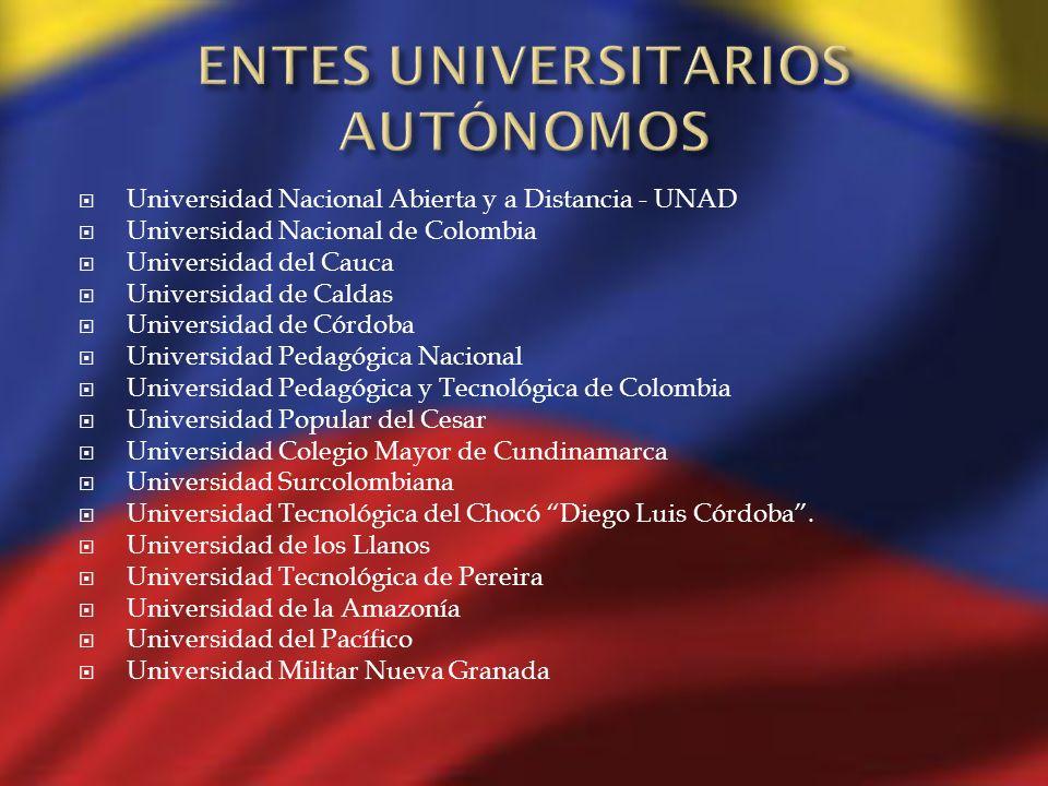 Universidad Nacional Abierta y a Distancia - UNAD Universidad Nacional de Colombia Universidad del Cauca Universidad de Caldas Universidad de Córdoba