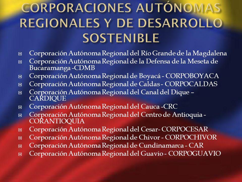 Corporación Autónoma Regional del Río Grande de la Magdalena Corporación Autónoma Regional de la Defensa de la Meseta de Bucaramanga -CDMB Corporación
