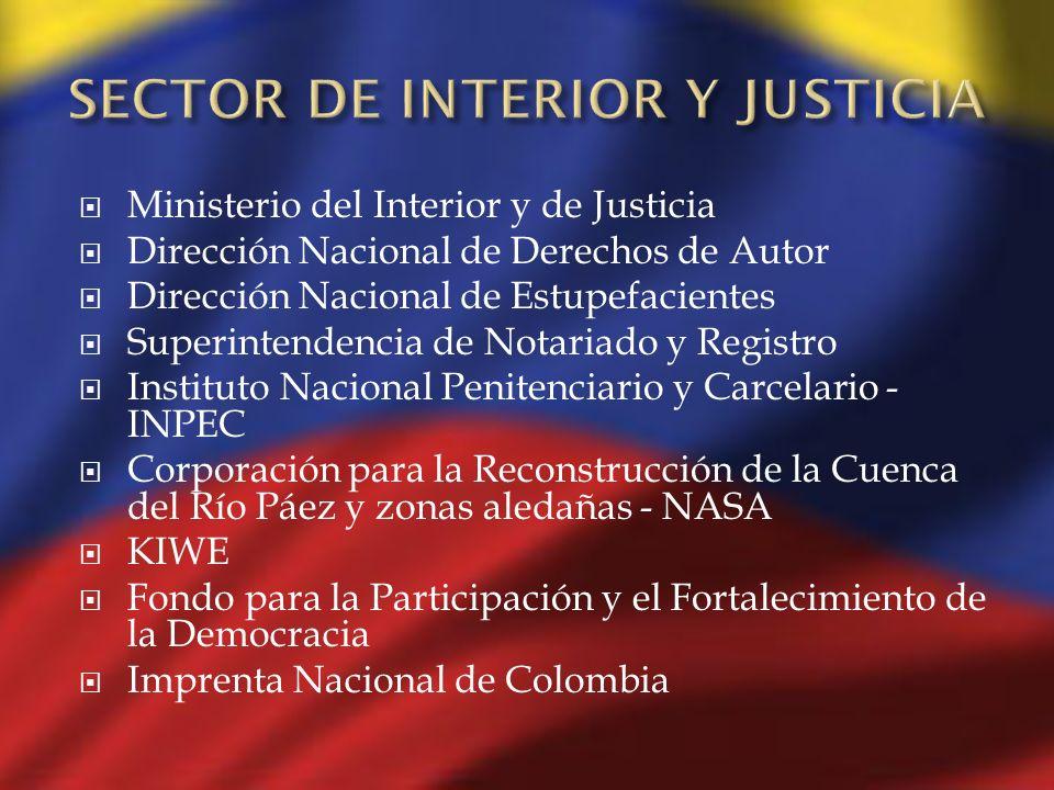 Ministerio del Interior y de Justicia Dirección Nacional de Derechos de Autor Dirección Nacional de Estupefacientes Superintendencia de Notariado y Re