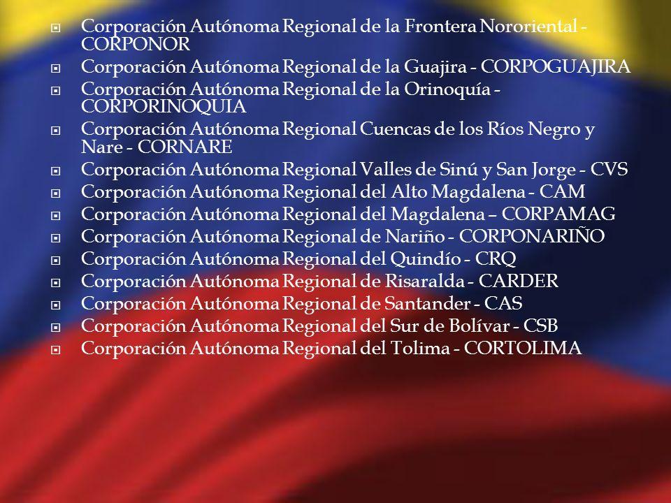 Corporación Autónoma Regional de la Frontera Nororiental - CORPONOR Corporación Autónoma Regional de la Guajira - CORPOGUAJIRA Corporación Autónoma Re