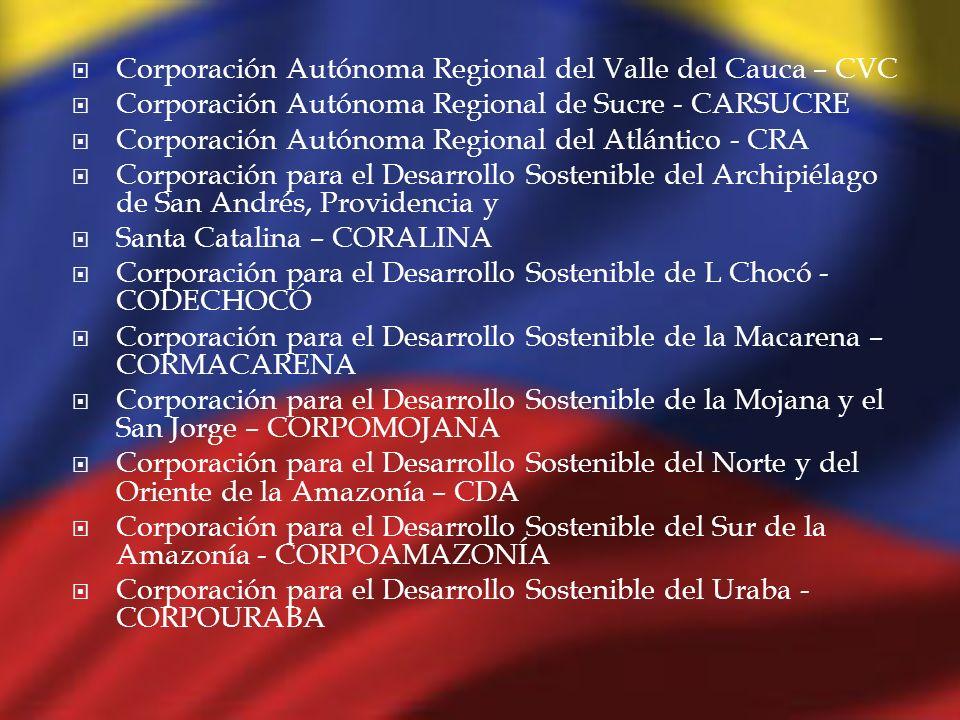 Corporación Autónoma Regional del Valle del Cauca – CVC Corporación Autónoma Regional de Sucre - CARSUCRE Corporación Autónoma Regional del Atlántico