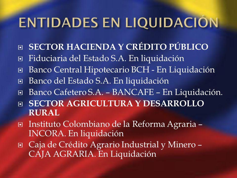 SECTOR HACIENDA Y CRÉDITO PÚBLICO Fiduciaria del Estado S.A. En liquidación Banco Central Hipotecario BCH - En Liquidación Banco del Estado S.A. En li