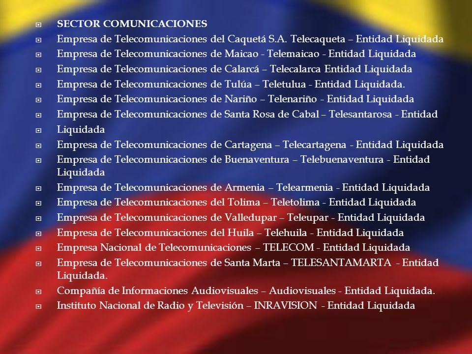 SECTOR COMUNICACIONES Empresa de Telecomunicaciones del Caquetá S.A. Telecaqueta – Entidad Liquidada Empresa de Telecomunicaciones de Maicao - Telemai
