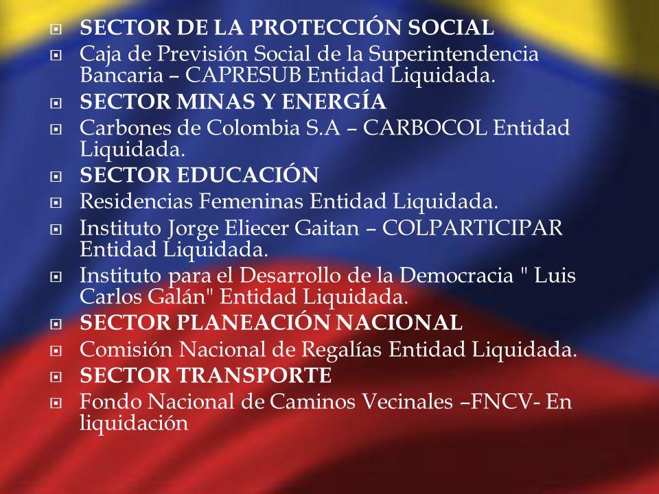 SECTOR DE LA PROTECCIÓN SOCIAL Caja de Previsión Social de la Superintendencia Bancaria – CAPRESUB Entidad Liquidada. SECTOR MINAS Y ENERGÍA Carbones