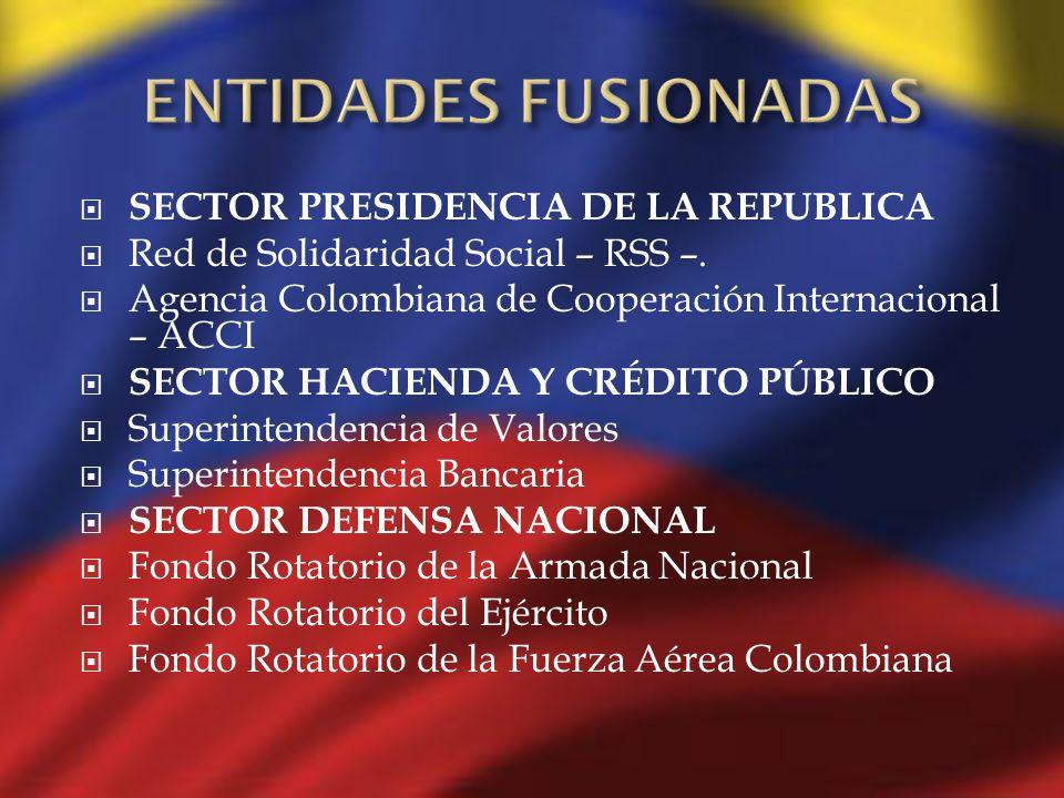 SECTOR PRESIDENCIA DE LA REPUBLICA Red de Solidaridad Social – RSS –. Agencia Colombiana de Cooperación Internacional – ACCI SECTOR HACIENDA Y CRÉDITO