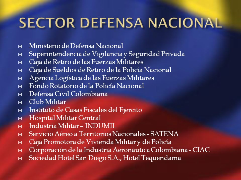 Ministerio de Defensa Nacional Superintendencia de Vigilancia y Seguridad Privada Caja de Retiro de las Fuerzas Militares Caja de Sueldos de Retiro de