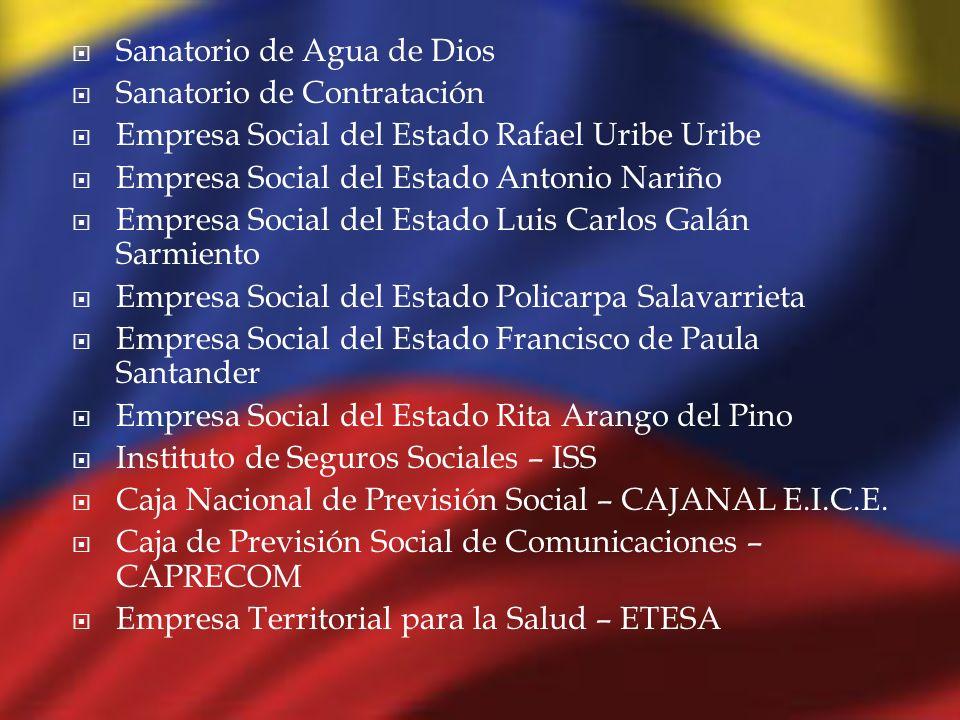 Sanatorio de Agua de Dios Sanatorio de Contratación Empresa Social del Estado Rafael Uribe Uribe Empresa Social del Estado Antonio Nariño Empresa Soci