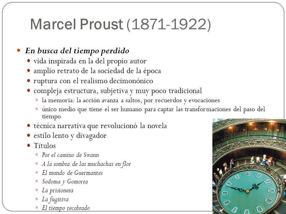 Marcel Proust (1871-1922) En busca del tiempo perdido vida inspirada en la del propio autor amplio retrato de la sociedad de la época ruptura con el r
