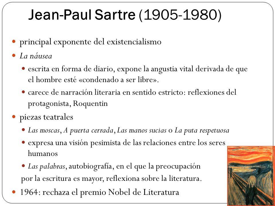 Jean-Paul Sartre (1905-1980) principal exponente del existencialismo La náusea escrita en forma de diario, expone la angustia vital derivada de que el