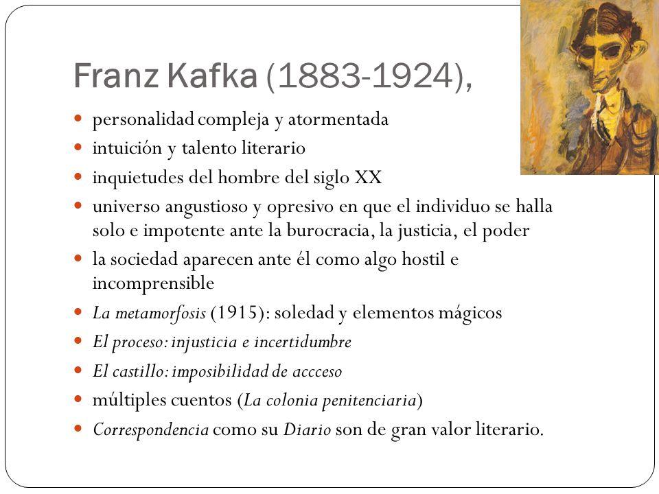 Franz Kafka (1883-1924), personalidad compleja y atormentada intuición y talento literario inquietudes del hombre del siglo XX universo angustioso y o
