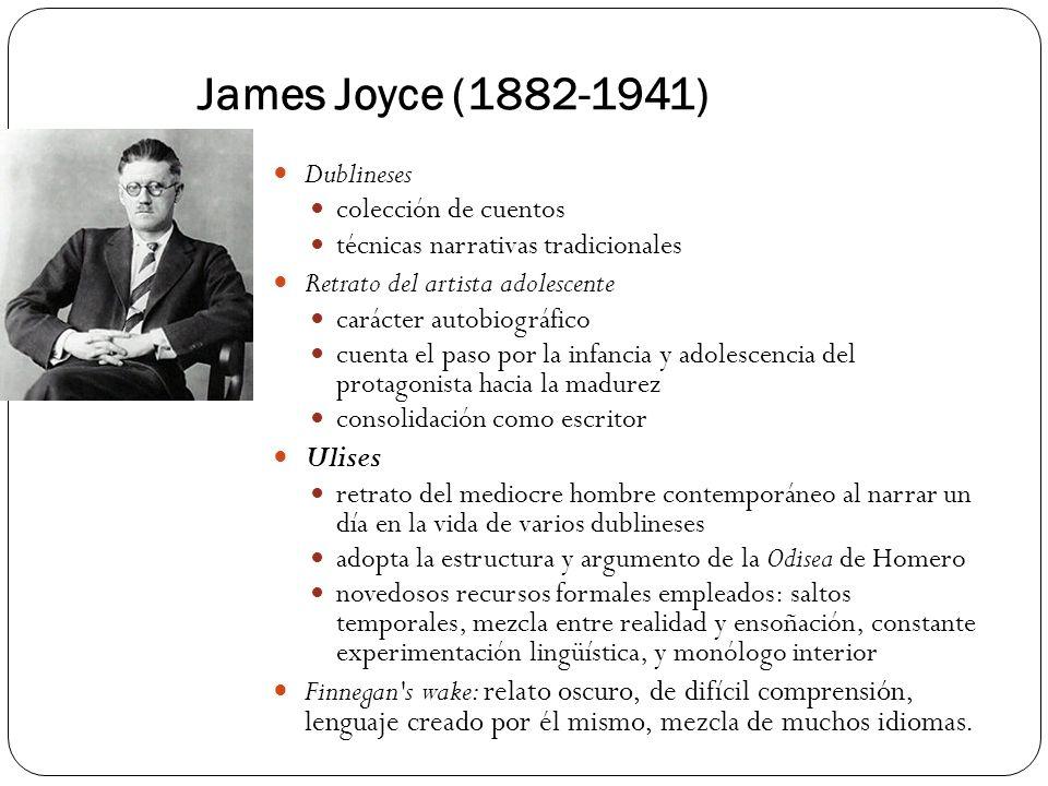 James Joyce (1882-1941) Dublineses colección de cuentos técnicas narrativas tradicionales Retrato del artista adolescente carácter autobiográfico cuen