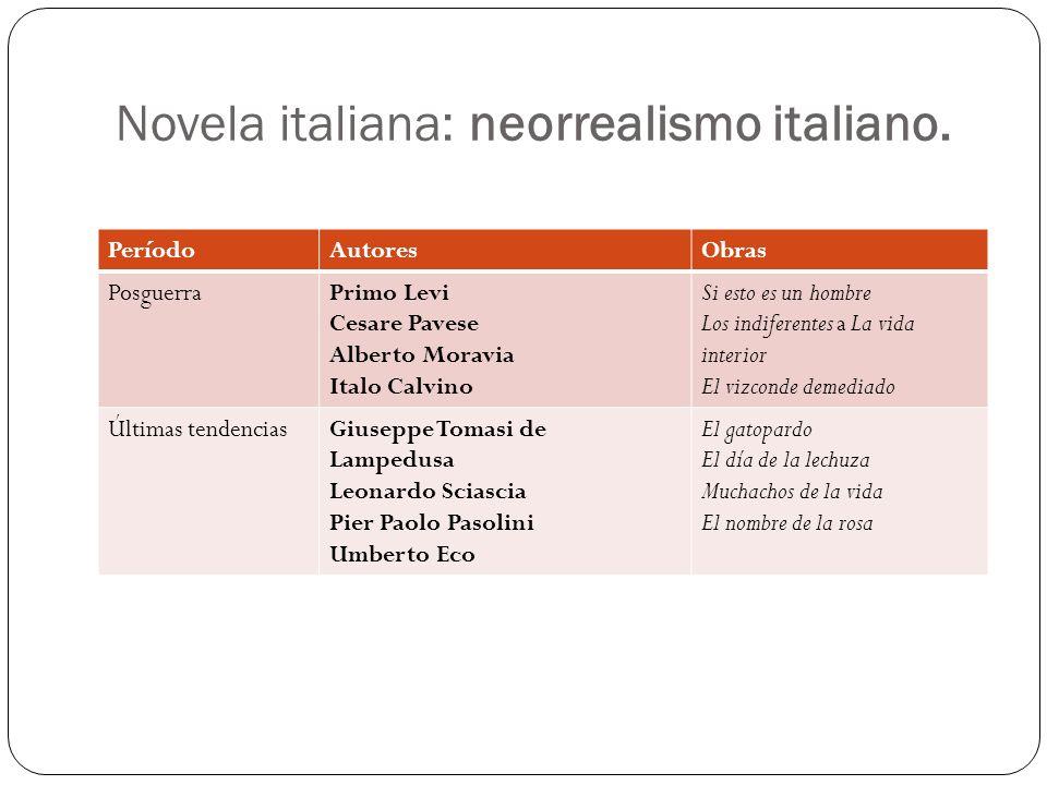 Novela italiana: neorrealismo italiano. PeríodoAutoresObras PosguerraPrimo Levi Cesare Pavese Alberto Moravia Italo Calvino Si esto es un hombre Los i