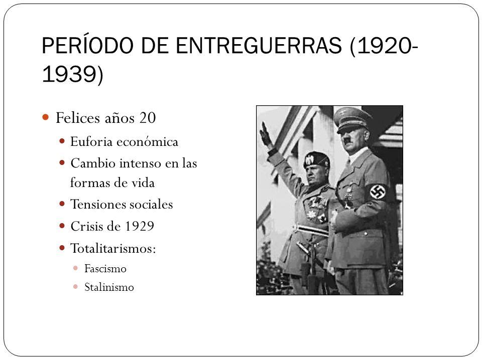PERÍODO DE ENTREGUERRAS (1920- 1939) Felices años 20 Euforia económica Cambio intenso en las formas de vida Tensiones sociales Crisis de 1929 Totalita