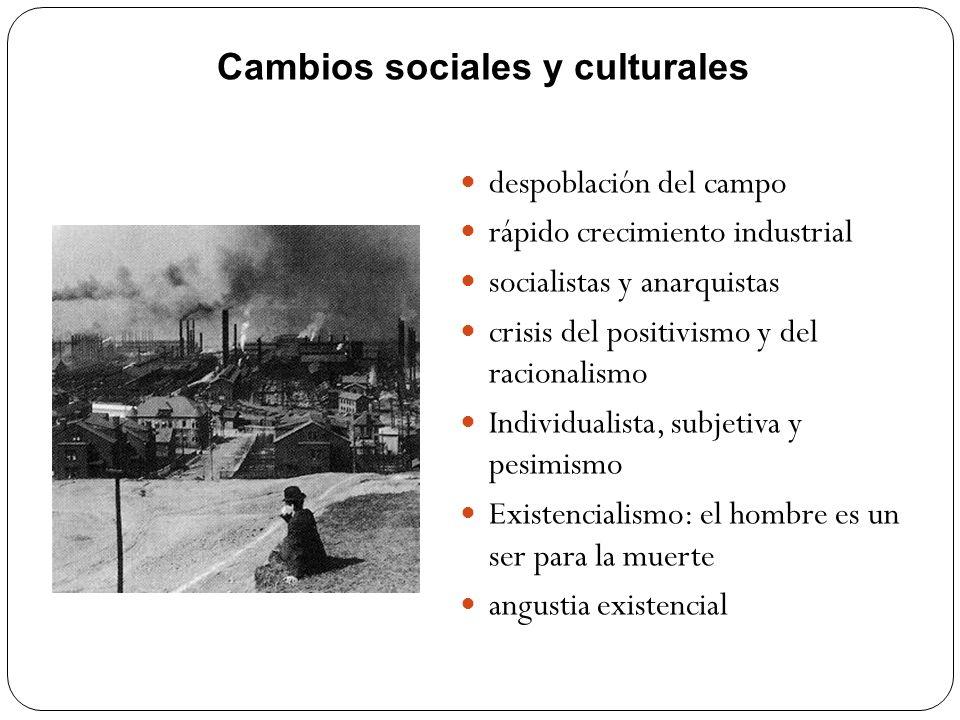 Cambios sociales y culturales despoblación del campo rápido crecimiento industrial socialistas y anarquistas crisis del positivismo y del racionalismo