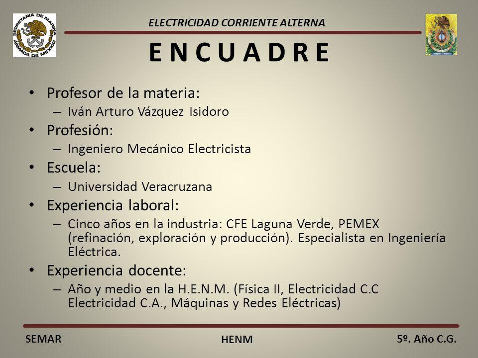 ELECTRICIDAD CORRIENTE ALTERNA SEMAR HENM 5º. Año C.G. E N C U A D R E Profesor de la materia: – Iván Arturo Vázquez Isidoro Profesión: – Ingeniero Me