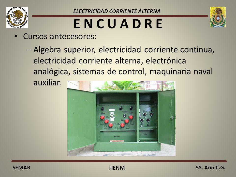 ELECTRICIDAD CORRIENTE ALTERNA SEMAR HENM 5º. Año C.G. E N C U A D R E Cursos antecesores: – Algebra superior, electricidad corriente continua, electr