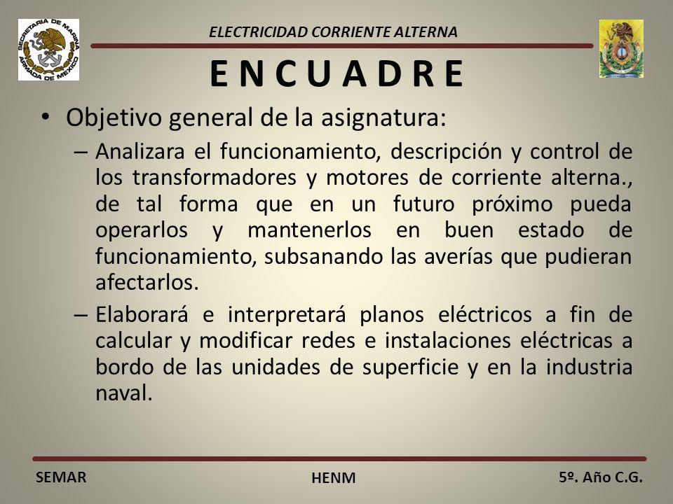 ELECTRICIDAD CORRIENTE ALTERNA SEMAR HENM 5º. Año C.G. E N C U A D R E Objetivo general de la asignatura: – Analizara el funcionamiento, descripción y