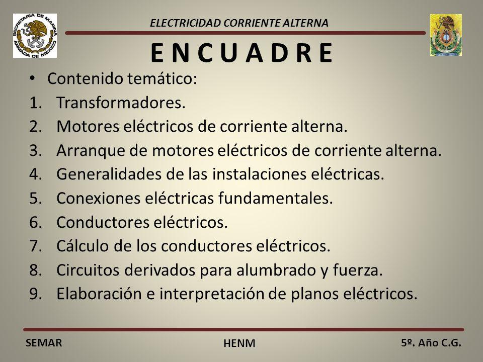 ELECTRICIDAD CORRIENTE ALTERNA SEMAR HENM 5º. Año C.G. E N C U A D R E Contenido temático: 1.Transformadores. 2.Motores eléctricos de corriente altern