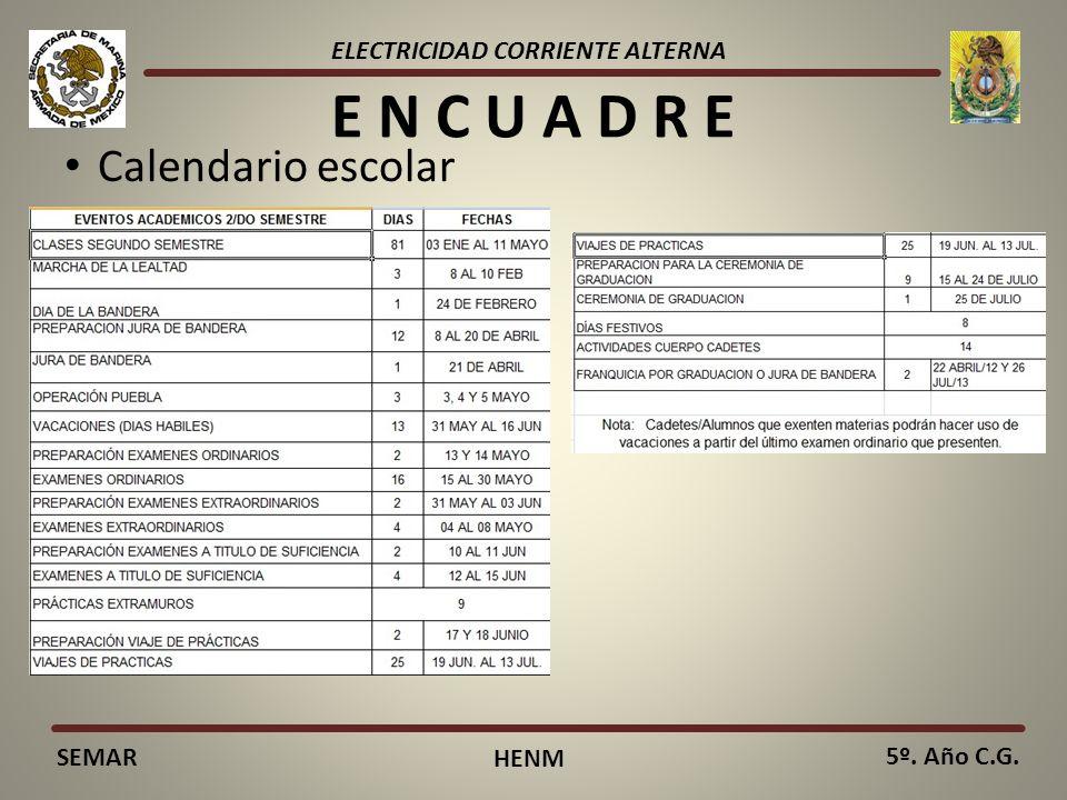 ELECTRICIDAD CORRIENTE ALTERNA SEMAR HENM 5º. Año C.G. E N C U A D R E Horario de clases: