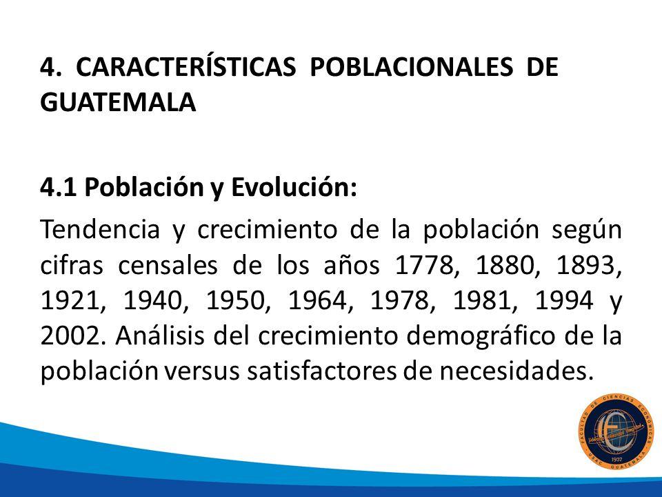 4. CARACTERÍSTICAS POBLACIONALES DE GUATEMALA 4.1 Población y Evolución: Tendencia y crecimiento de la población según cifras censales de los años 177