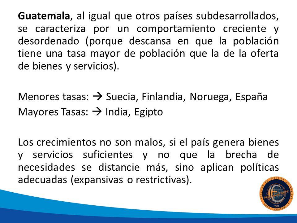 Guatemala, al igual que otros países subdesarrollados, se caracteriza por un comportamiento creciente y desordenado (porque descansa en que la población tiene una tasa mayor de población que la de la oferta de bienes y servicios).