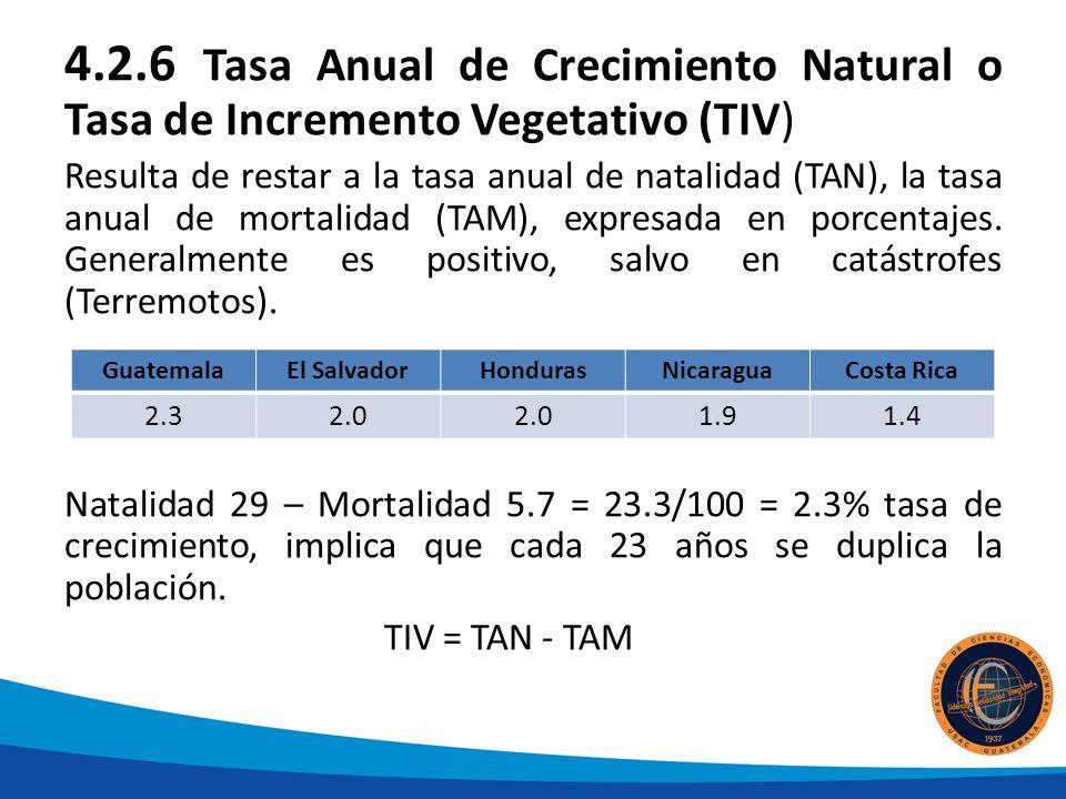 4.2.6 Tasa Anual de Crecimiento Natural o Tasa de Incremento Vegetativo (TIV) Resulta de restar a la tasa anual de natalidad (TAN), la tasa anual de mortalidad (TAM), expresada en porcentajes.