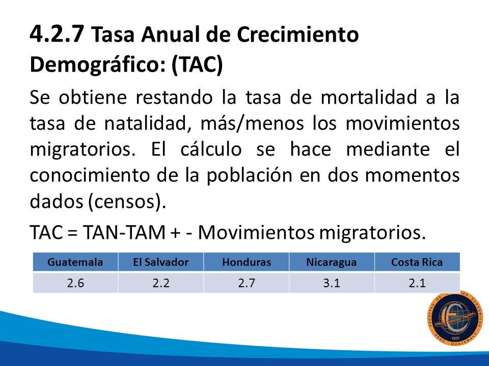 4.2.7 Tasa Anual de Crecimiento Demográfico: (TAC) Se obtiene restando la tasa de mortalidad a la tasa de natalidad, más/menos los movimientos migratorios.