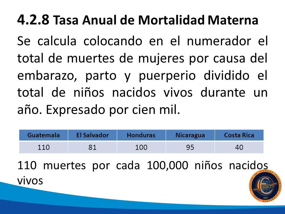 4.2.8 Tasa Anual de Mortalidad Materna Se calcula colocando en el numerador el total de muertes de mujeres por causa del embarazo, parto y puerperio dividido el total de niños nacidos vivos durante un año.