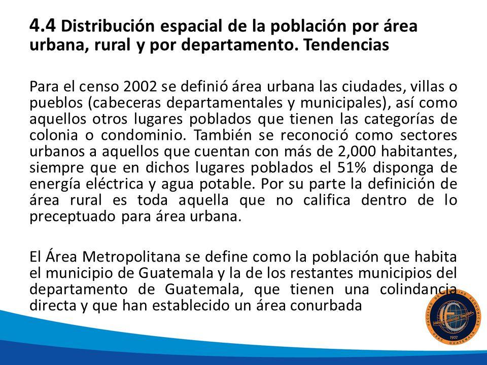 4.4 Distribución espacial de la población por área urbana, rural y por departamento.