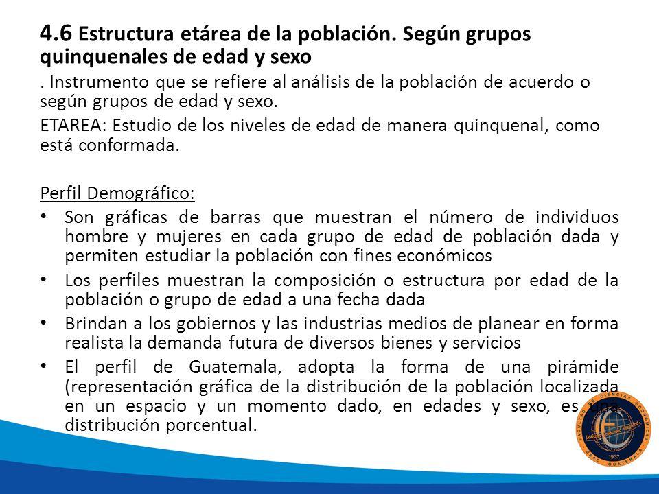 4.6 Estructura etárea de la población.Según grupos quinquenales de edad y sexo.