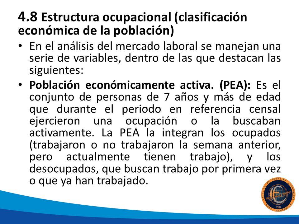 4.8 Estructura ocupacional (clasificación económica de la población) En el análisis del mercado laboral se manejan una serie de variables, dentro de las que destacan las siguientes: Población económicamente activa.