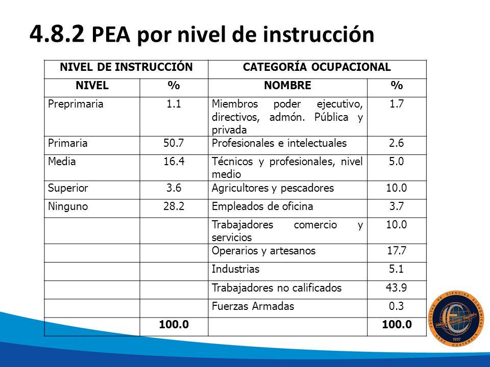 4.8.2 PEA por nivel de instrucción NIVEL DE INSTRUCCIÓNCATEGORÍA OCUPACIONAL NIVEL%NOMBRE% Preprimaria1.1Miembros poder ejecutivo, directivos, admón.