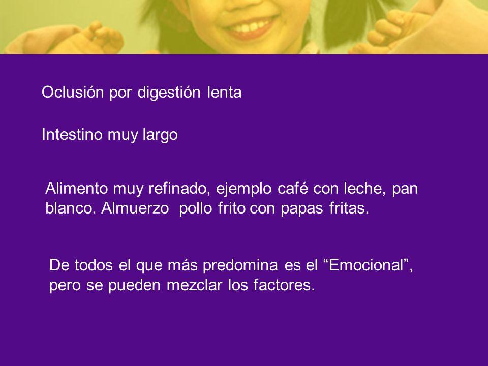 Oclusión por digestión lenta Intestino muy largo Alimento muy refinado, ejemplo café con leche, pan blanco. Almuerzo pollo frito con papas fritas. De