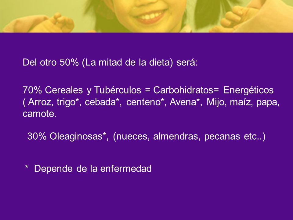 Del otro 50% (La mitad de la dieta) será: 70% Cereales y Tubérculos = Carbohidratos= Energéticos ( Arroz, trigo*, cebada*, centeno*, Avena*, Mijo, maí