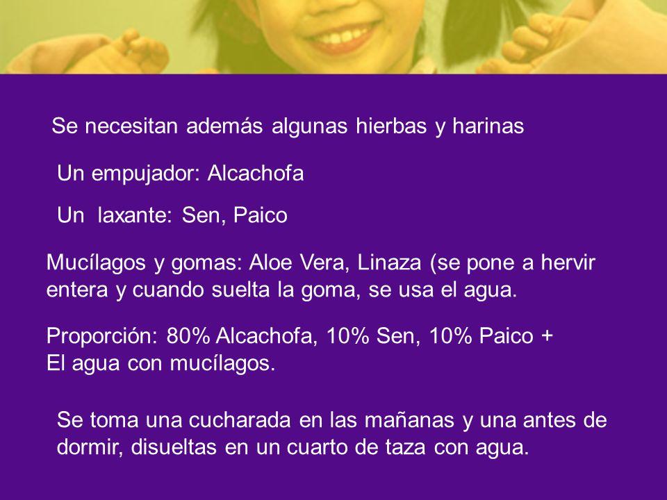 Se necesitan además algunas hierbas y harinas Un empujador: Alcachofa Un laxante: Sen, Paico Mucílagos y gomas: Aloe Vera, Linaza (se pone a hervir en