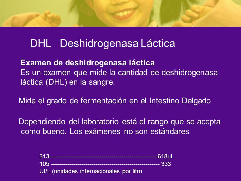 DHL Deshidrogenasa Láctica Mide el grado de fermentación en el Intestino Delgado Dependiendo del laboratorio está el rango que se acepta como bueno. L