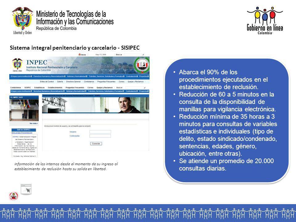 Sistema integral penitenciario y carcelario - SISIPEC Información de los internos desde el momento de su ingreso al establecimiento de reclusión hasta su salida en libertad.