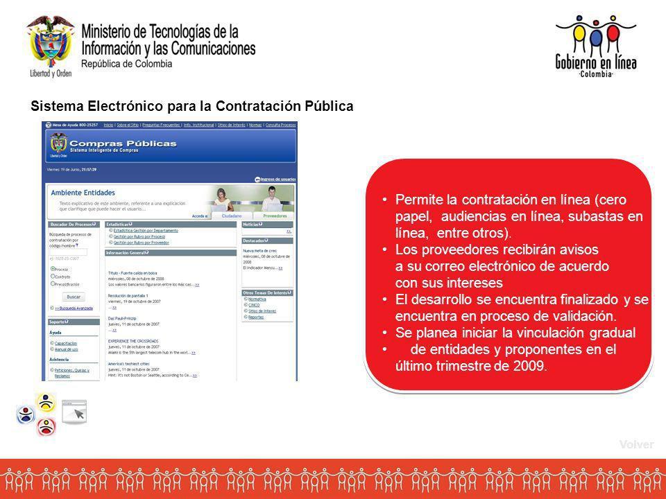 Sistema Electrónico para la Contratación Pública Permite la contratación en línea (cero papel, audiencias en línea, subastas en línea, entre otros).