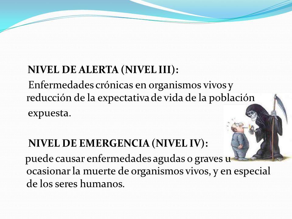 NIVEL DE ALERTA (NIVEL III): Enfermedades crónicas en organismos vivos y reducción de la expectativa de vida de la población expuesta. NIVEL DE EMERGE