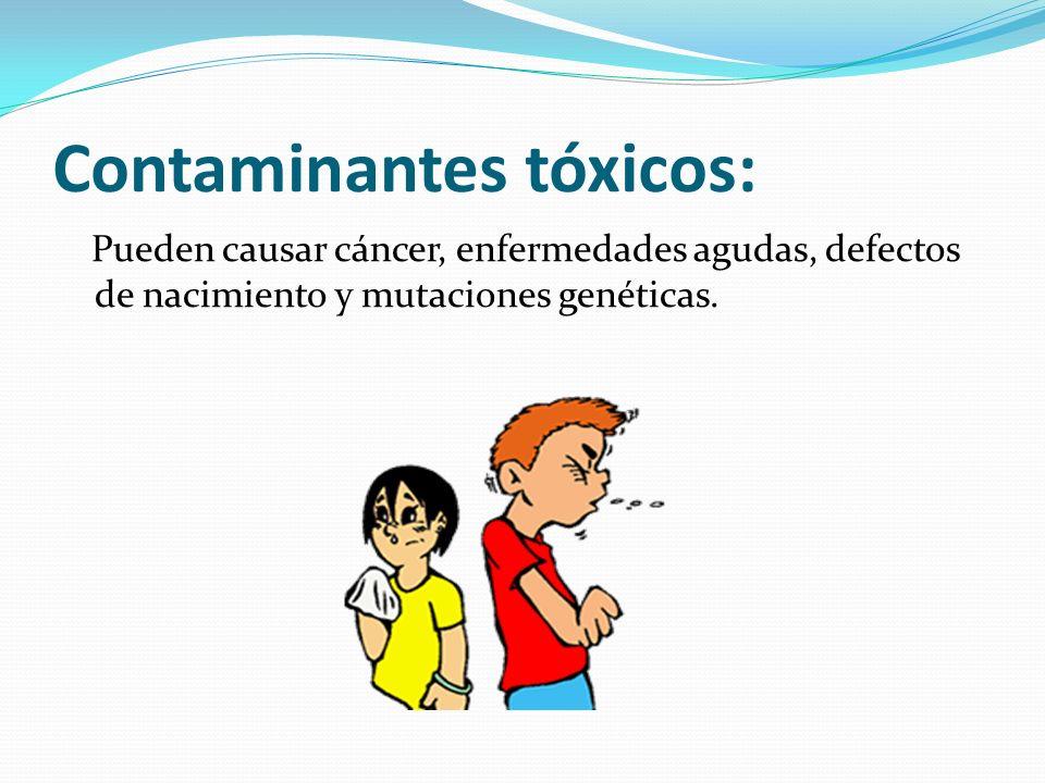 Contaminantes tóxicos: Pueden causar cáncer, enfermedades agudas, defectos de nacimiento y mutaciones genéticas.