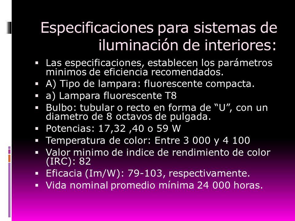 Especificaciones para sistemas de iluminación de interiores: Las especificaciones, establecen los parámetros minimos de eficiencia recomendados. A) Ti