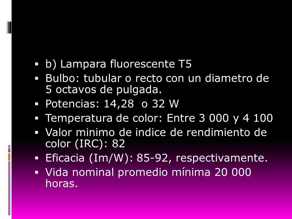 b) Lampara fluorescente T5 Bulbo: tubular o recto con un diametro de 5 octavos de pulgada. Potencias: 14,28 o 32 W Temperatura de color: Entre 3 000 y