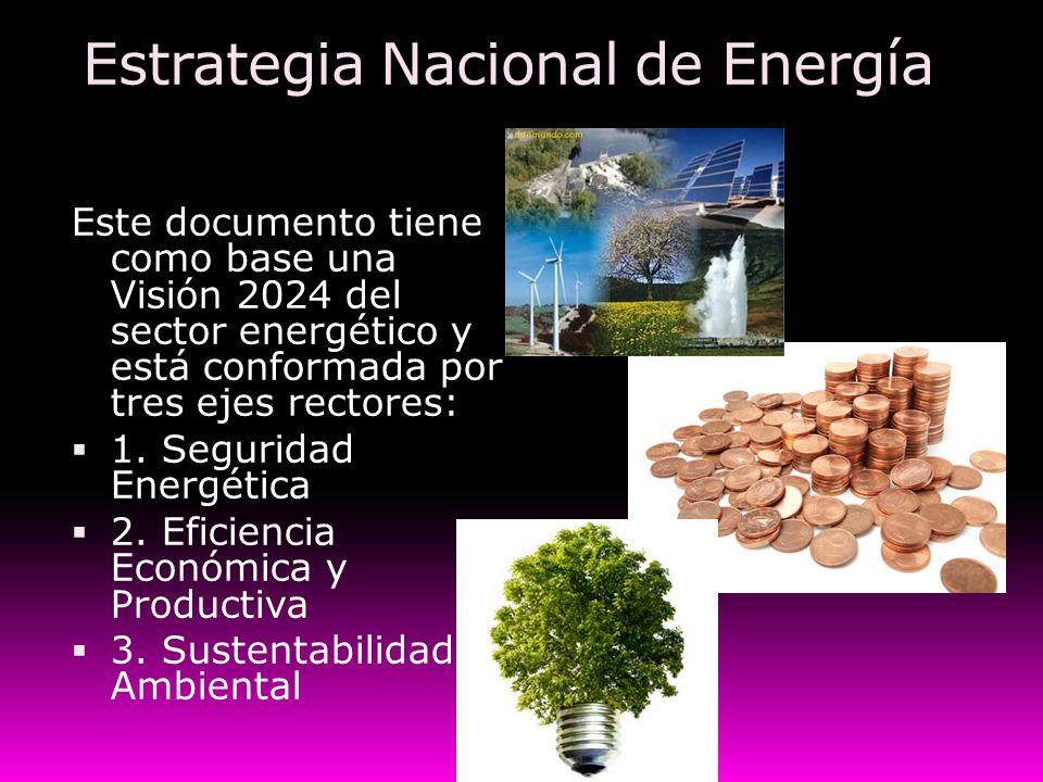 Estrategia Nacional de Energía Este documento tiene como base una Visión 2024 del sector energético y está conformada por tres ejes rectores: 1. Segur